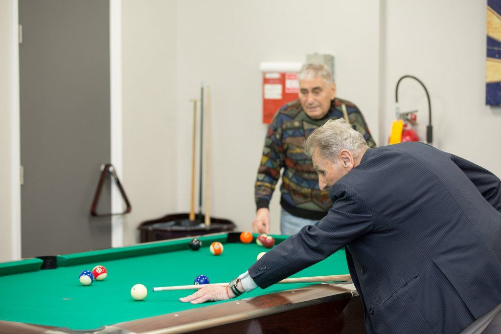 Social interactions and recreation activities in the facility