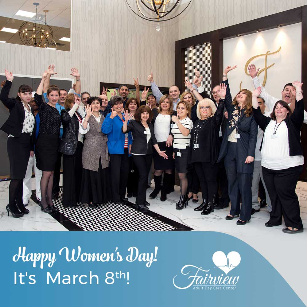 All staff members on women's day at Fairview Adult Day Care Center in Brooklyn NYC