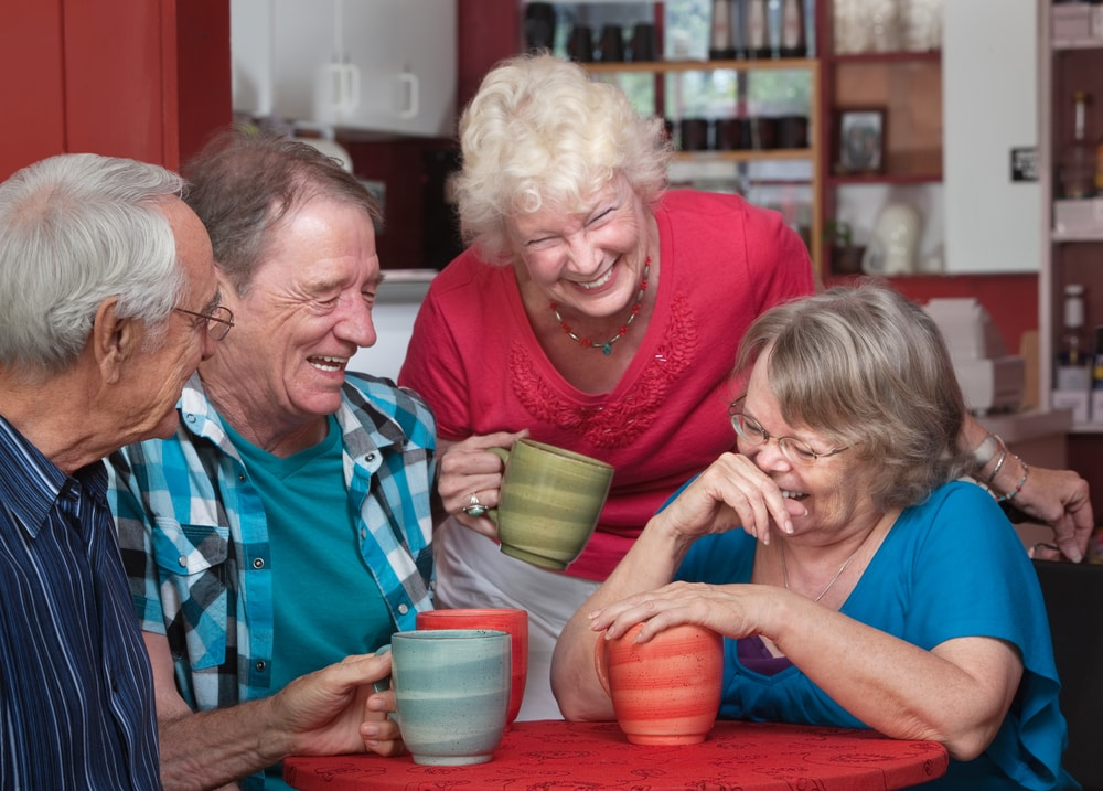 Happy senior people with positive thinking having chat