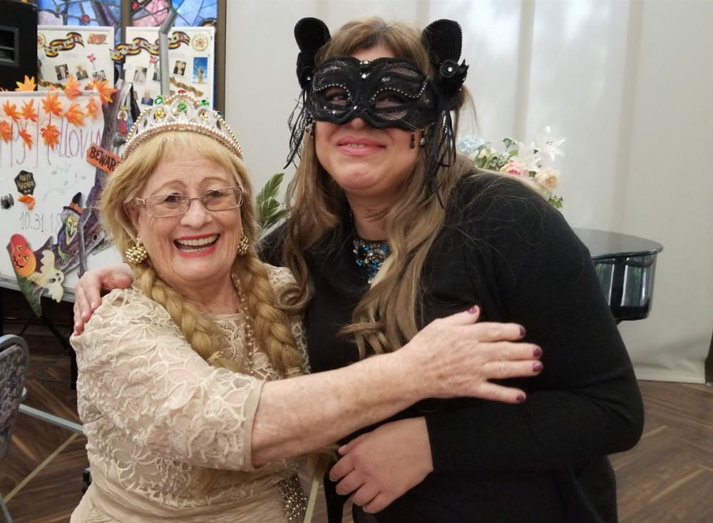 Senior woman celebrating Halloween party at Fairview Adult Day Care